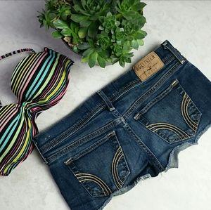 Hollister Dark Denim Short Shorts Low Rise  Size 1